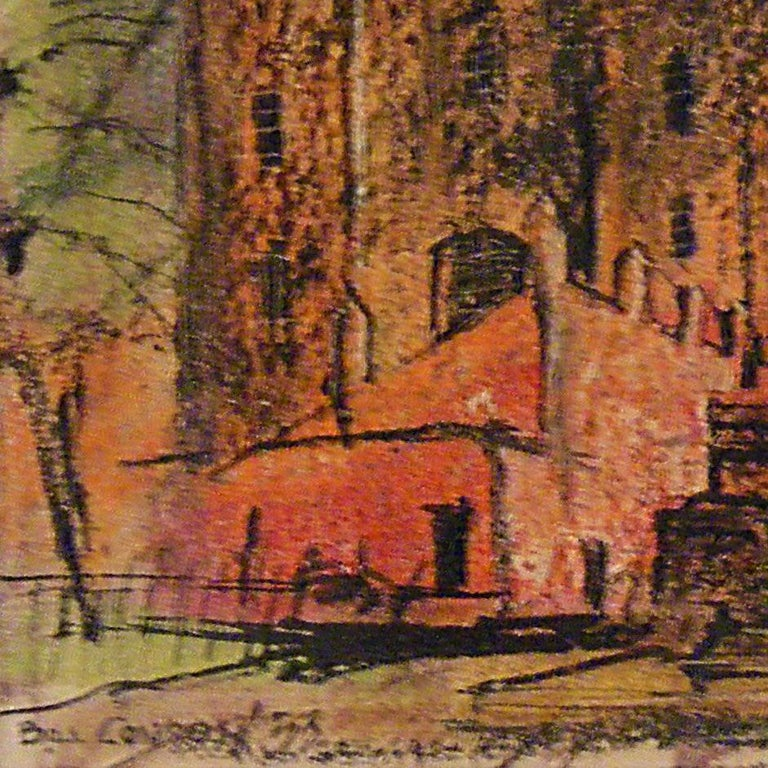 Beautiful untitled mixed media art by Texas artist Bill Condon circa 1953. The sketchiness of the lines adds a dynamic energy to the scene of a cathedral with soft pastel colors. Dimensions are without frame.  Artist Biography: Born in 1923, Bill