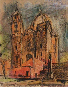 Impressionist Cathedral Landscape Drawing
