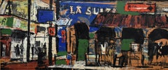 """La Suiza""  Artist street scene cafes, easels, related."