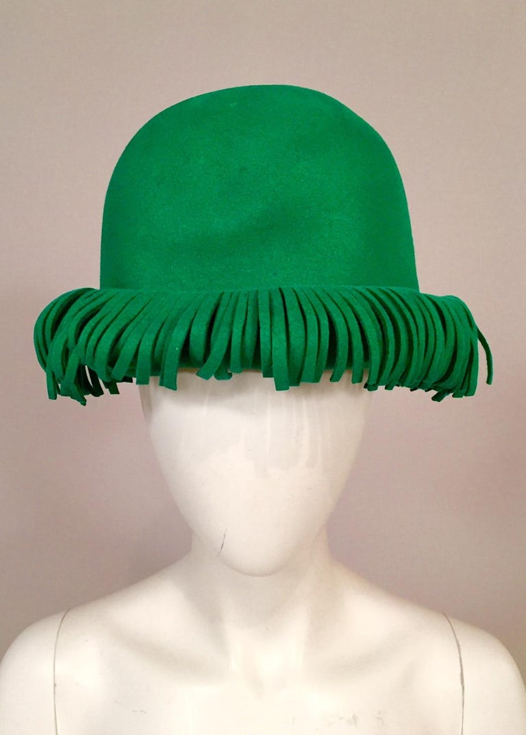 Bill Cunningham William J. Bright Green Wool Felt Hat with Fringe In Excellent Condition For Sale In New Hope, PA