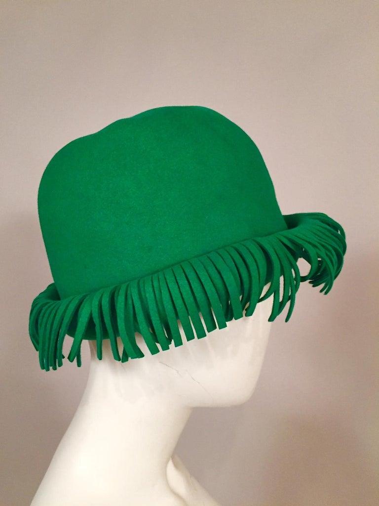 Women's Bill Cunningham William J. Bright Green Wool Felt Hat with Fringe For Sale