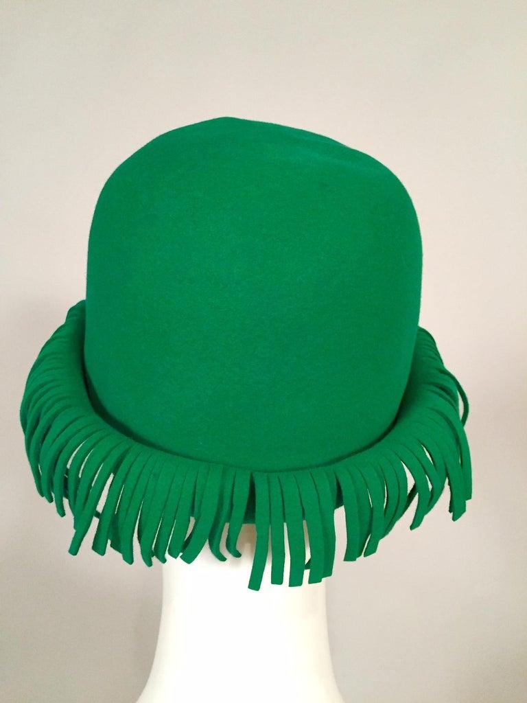 Bill Cunningham William J. Bright Green Wool Felt Hat with Fringe For Sale 1