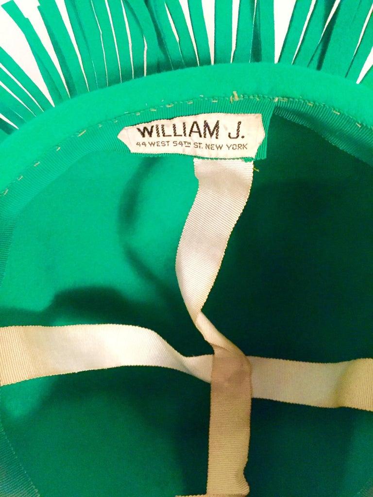 Bill Cunningham William J. Bright Green Wool Felt Hat with Fringe For Sale 2