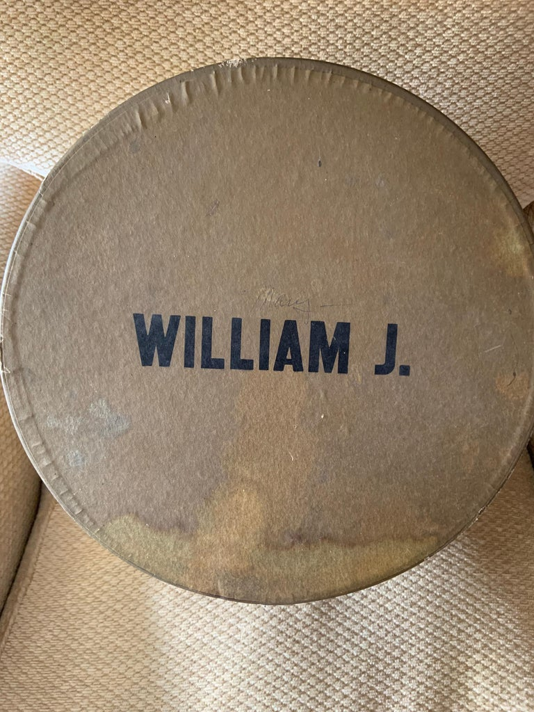 Bill Cunningham William J Polka Dot Velvet Hat in the Original William J Hatbox For Sale 1