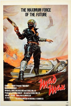 Original Vintage Poster For Mad Max Cult Movie Futuristic Sci-Fi Film Mel Gibson