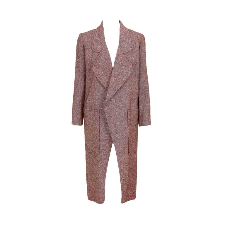 Bill Gibb 1970s Vintage Rare Tweed Maxi Wrap-Around Coat  For Sale
