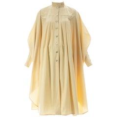 Bill Gibb cream cotton box pleated coat, ca. 1978