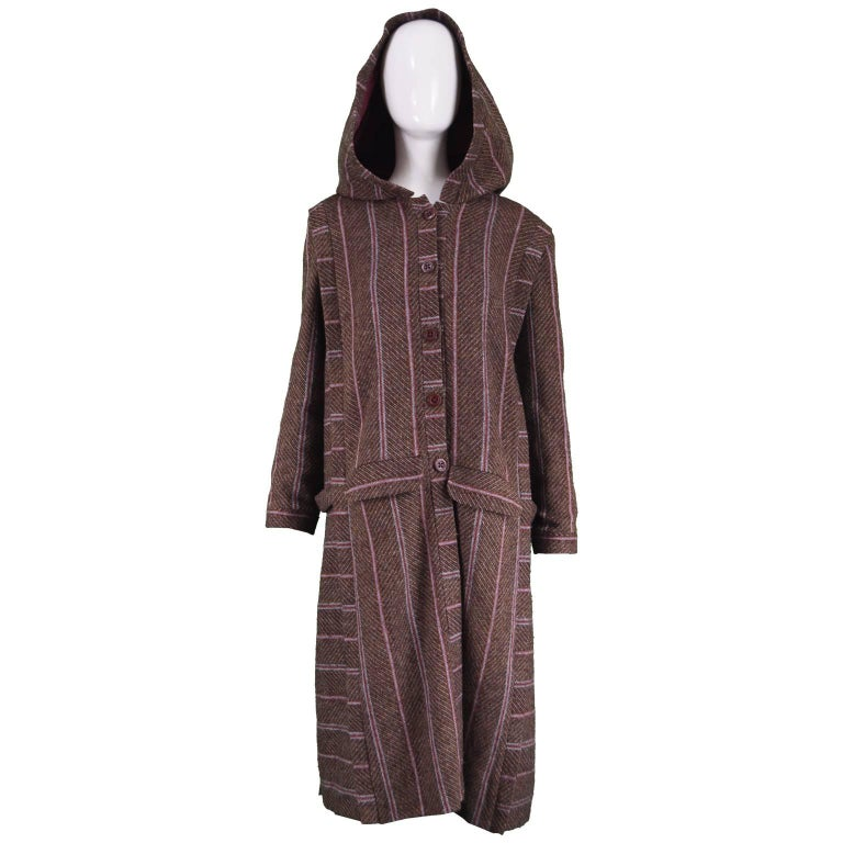 Bill Gibb Dramatic Brown Wool Striped Vintage Coat with Oversized Hood, 1970s