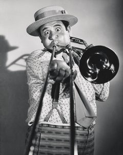 Buddy Hackett Comical Portrait with Trombone Globe Photos Fine Art Print