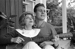 Ryan O'Neal and Joanna Moore Playing Guitar at Home Fine Art Print