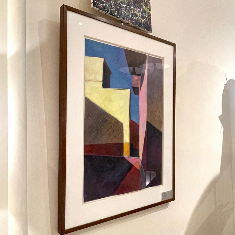 Bill Kohn 'San Nicolas' Acrylic on Paper framed in Walnut 1986 For Sale 7