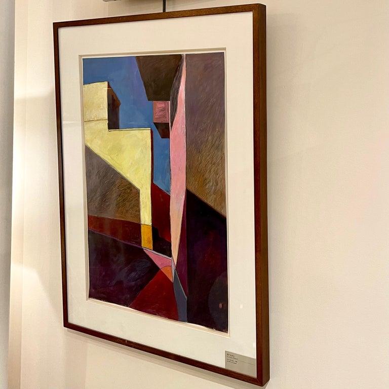 Bill Kohn 'San Nicolas' Acrylic on Paper framed in Walnut 1986 For Sale 8