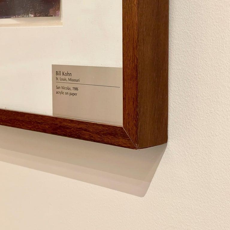 Bill Kohn 'San Nicolas' Acrylic on Paper framed in Walnut 1986 For Sale 9