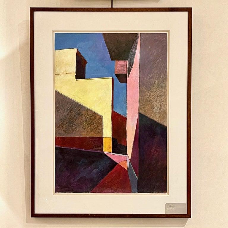 Bill Kohn 'San Nicolas' Acrylic on Paper framed in Walnut 1986 For Sale 10