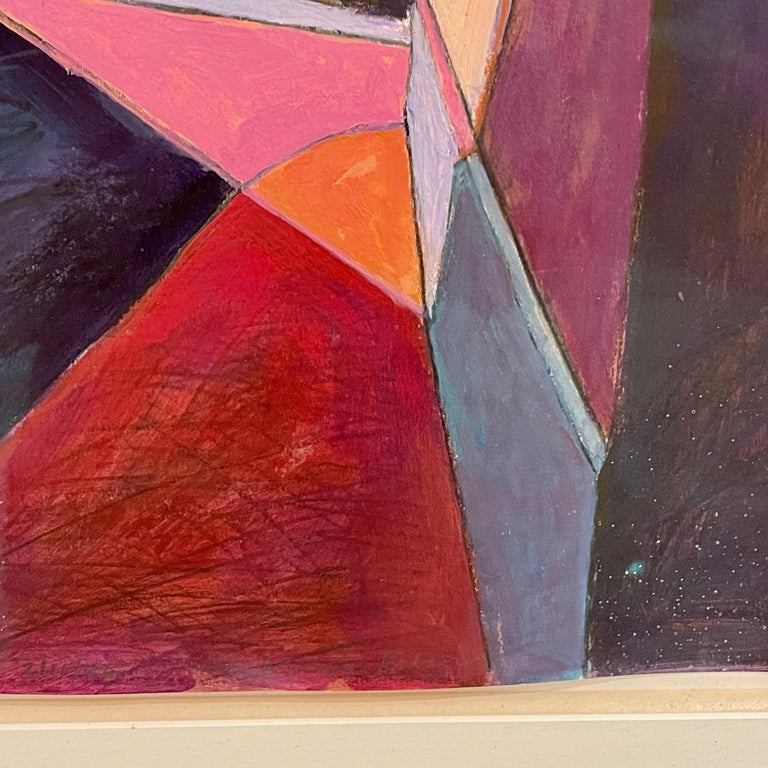 Bill Kohn 'San Nicolas' acrylic on paper. Exceptionally mounted, matted and framed.  Bill Kohn was born, worked, and lived in St. Louis as a painter celebrated for his use of vibrant color and dizzying perspectives in his paintings of significant