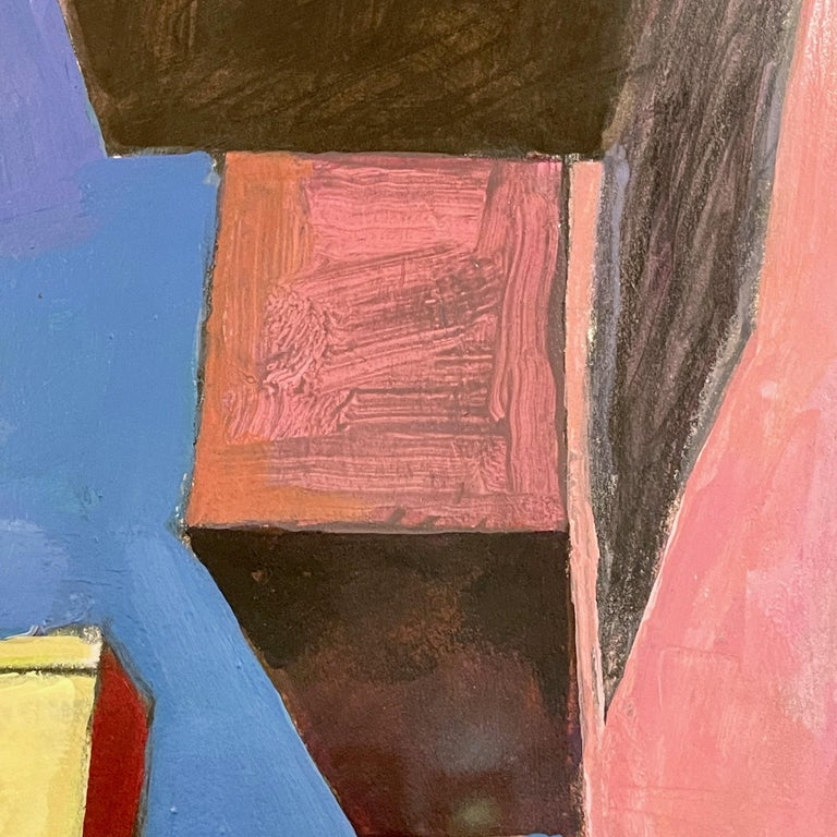 Bill Kohn 'San Nicolas' Acrylic on Paper framed in Walnut 1986 For Sale 2