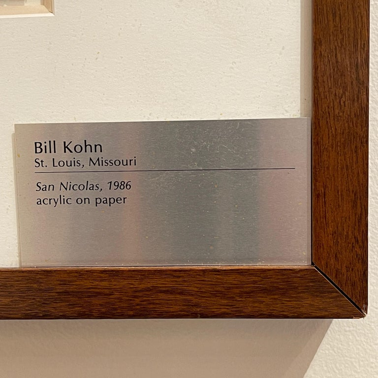 Bill Kohn 'San Nicolas' Acrylic on Paper framed in Walnut 1986 For Sale 3