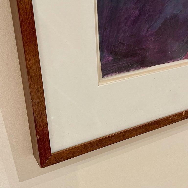 Bill Kohn 'San Nicolas' Acrylic on Paper framed in Walnut 1986 For Sale 4