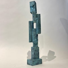 Tall Modernist Totem Sculpture by Bill Low with Weathered Bronze Finish