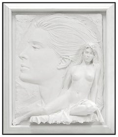 Bill Mack Large Bonded Sand Relief Sculpture Envision Hand Signed Nude Female