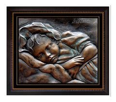 BILL MACK Original BRONZE SCULPTURE Peaceful Children art Signed Bas Relief