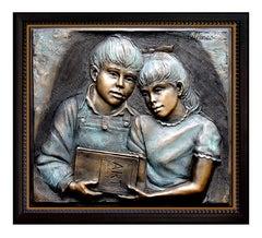 BILL MACK Original BRONZE SCULPTURE SHARING Children art Signed Framed OFFERS