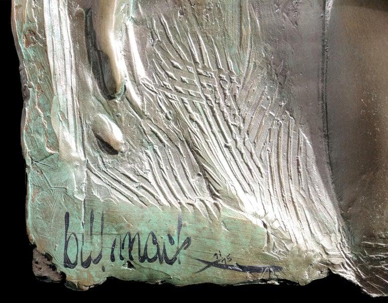 SPIRIT VALIANT DIPTYCH (BRONZE) - Gold Figurative Sculpture by Bill Mack