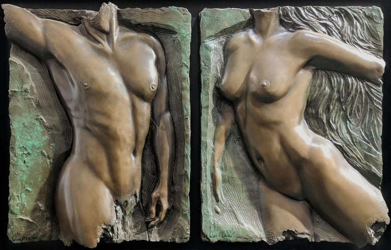 Bill Mack Figurative Sculpture - SPIRIT VALIANT DIPTYCH (BRONZE)