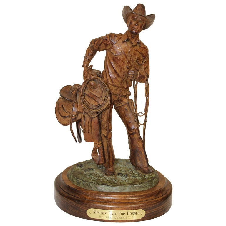 "Bill Nebeker Bronze Statue ""Mornin' Call for Horses"" For Sale"