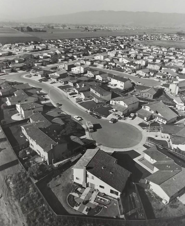 Bill Owens Black and White Photograph - Untitled (Overview of cul-de-sac)