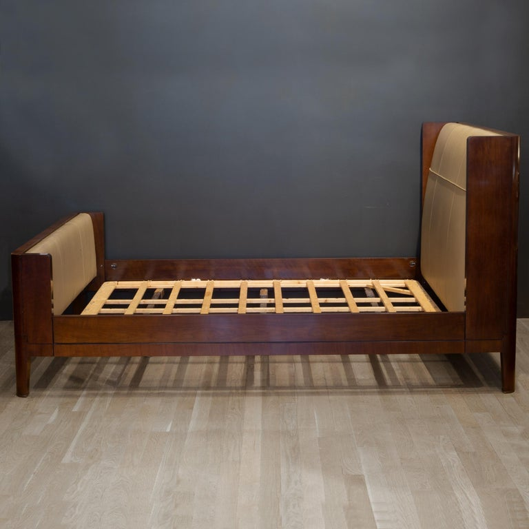 Bill Sofield for Baker Furniture Leather and Walnut Pullman Bed Frame For Sale 3