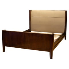 Bill Sofield for Baker Furniture Leather and Walnut Pullman Queen Bed Frame