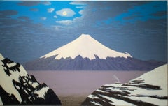 View of Cotopaxi (Contemporary Oil Landscape Painting of Blue Sky & Volcano)
