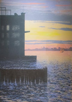 Weehawken, Milogna (Framed 1970's Hand Colored Print of New Jersey Sunset)