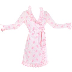Bill Tice 1970s Vintage Pink & White Toile Ruffled Cotton Wrap Dress Size 6