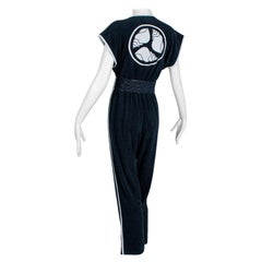 Bill Tice Black Terry Jumpsuit with Seashell Medallion, Saks - XS, 1970s