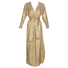 Bill Tice Gold Lurex Plunge Neck Belted Maxi Dress, 1980s
