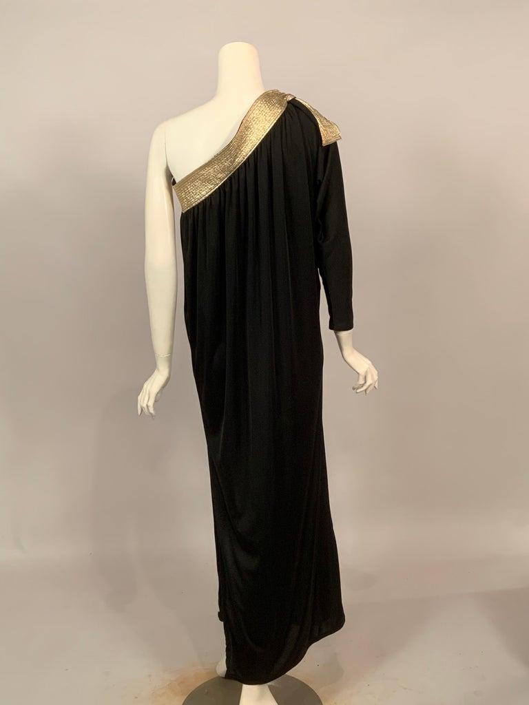 Bill Tice Gold Trimmed One Shoulder Black Evening or At Home Dress For Sale 1