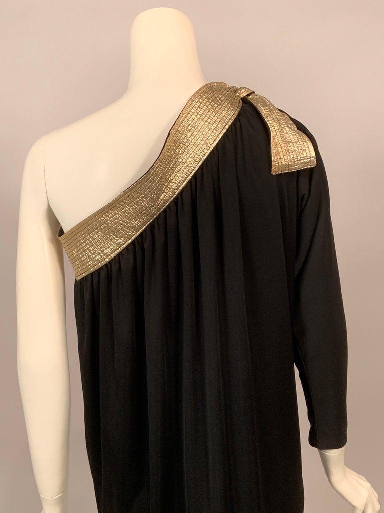 Bill Tice Gold Trimmed One Shoulder Black Evening or At Home Dress For Sale 2