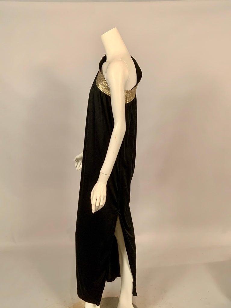 Bill Tice Gold Trimmed One Shoulder Black Evening or At Home Dress For Sale 3