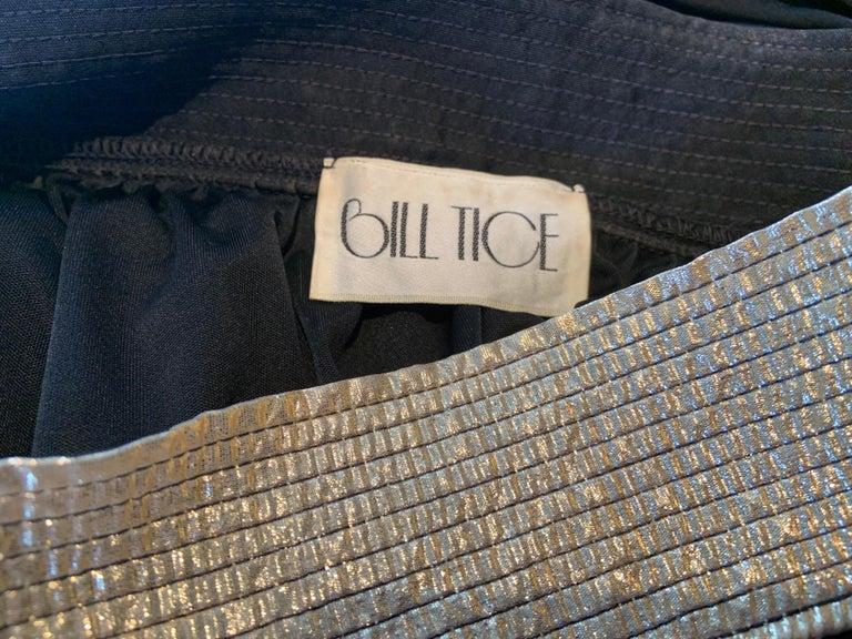 Bill Tice Gold Trimmed One Shoulder Black Evening or At Home Dress For Sale 4