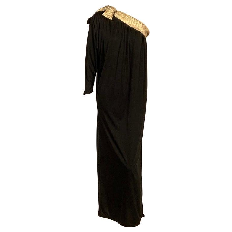 Bill Tice Gold Trimmed One Shoulder Black Evening or At Home Dress For Sale
