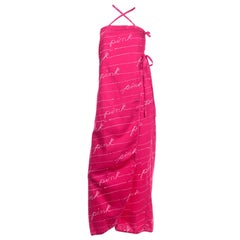 Bill Tice Vintage Pink 19870s Summer Maxi Dress With Crossover Straps