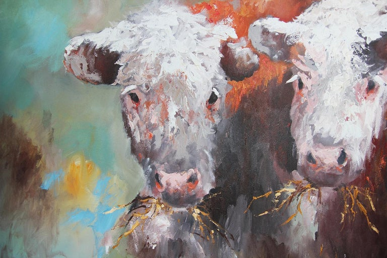 Blue and Green Toned Modern Naturalistic Animal Portrait of a Pair of Cows For Sale 2