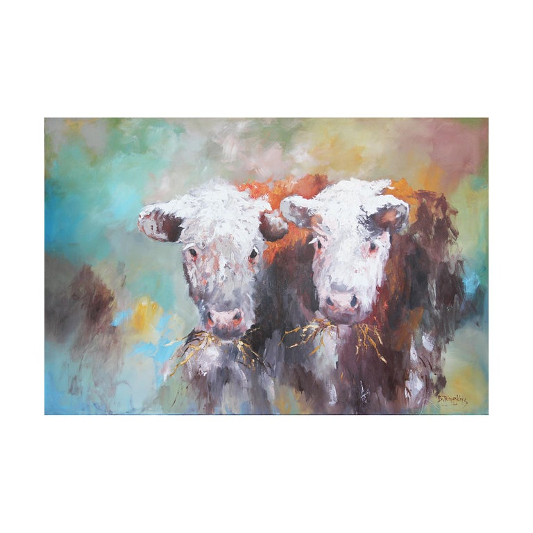 Bill Tompkins Animal Painting - Blue and Green Toned Modern Naturalistic Animal Portrait of a Pair of Cows