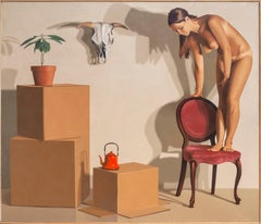 Girl in a Chair, Large Painting by Bill Wiman