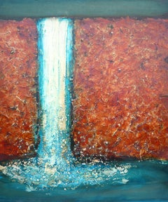 Water of Carvie. Abstract Expressionist Encaustic Landscape Painting