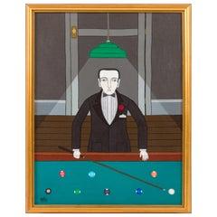 """Billiard Player"" Oil on Canvas by Shigeo Okumura, Signed OKU, 1976"
