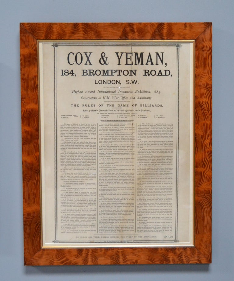 A beautiful set of Country House Billiard rules manufactured circa 1875 by Cox & Yeman of London, consisting of The Rules of Billiards, The Rules of Pyramid Pool and The Rules of Life Pool.   There are some old tears and creases which is to be