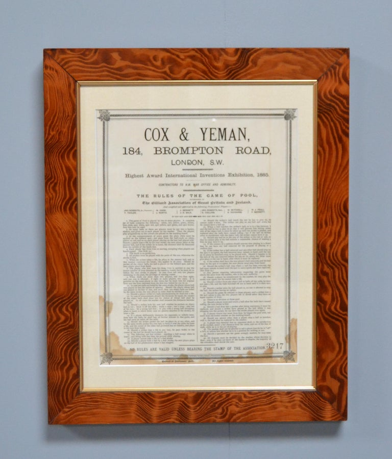 Late Victorian Billiard snooker pool rule set London douglas fir  Victorian 1875 English For Sale